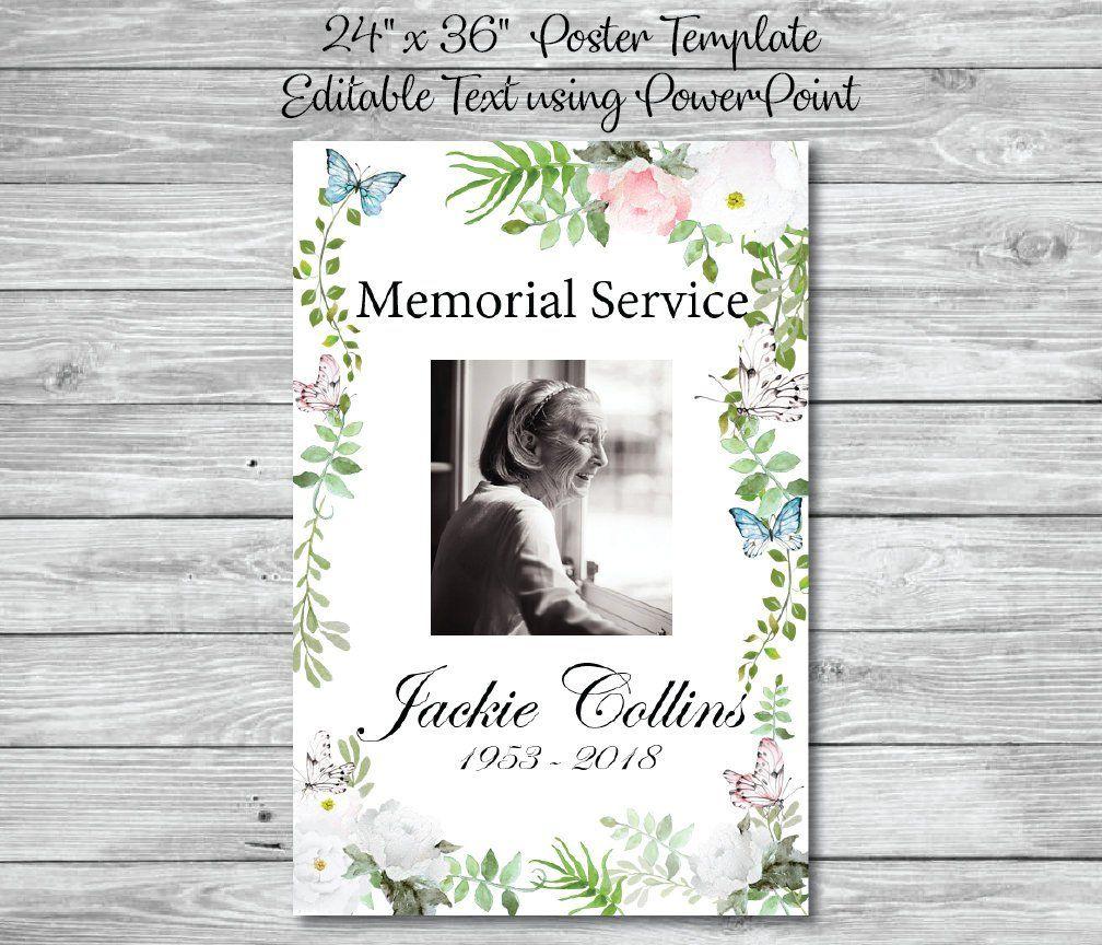 Memorial poster 24x 36 printable funeral poster