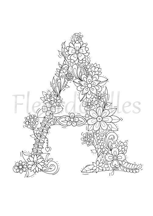 Adult Coloring Page Floral Letters Alphabet A Por