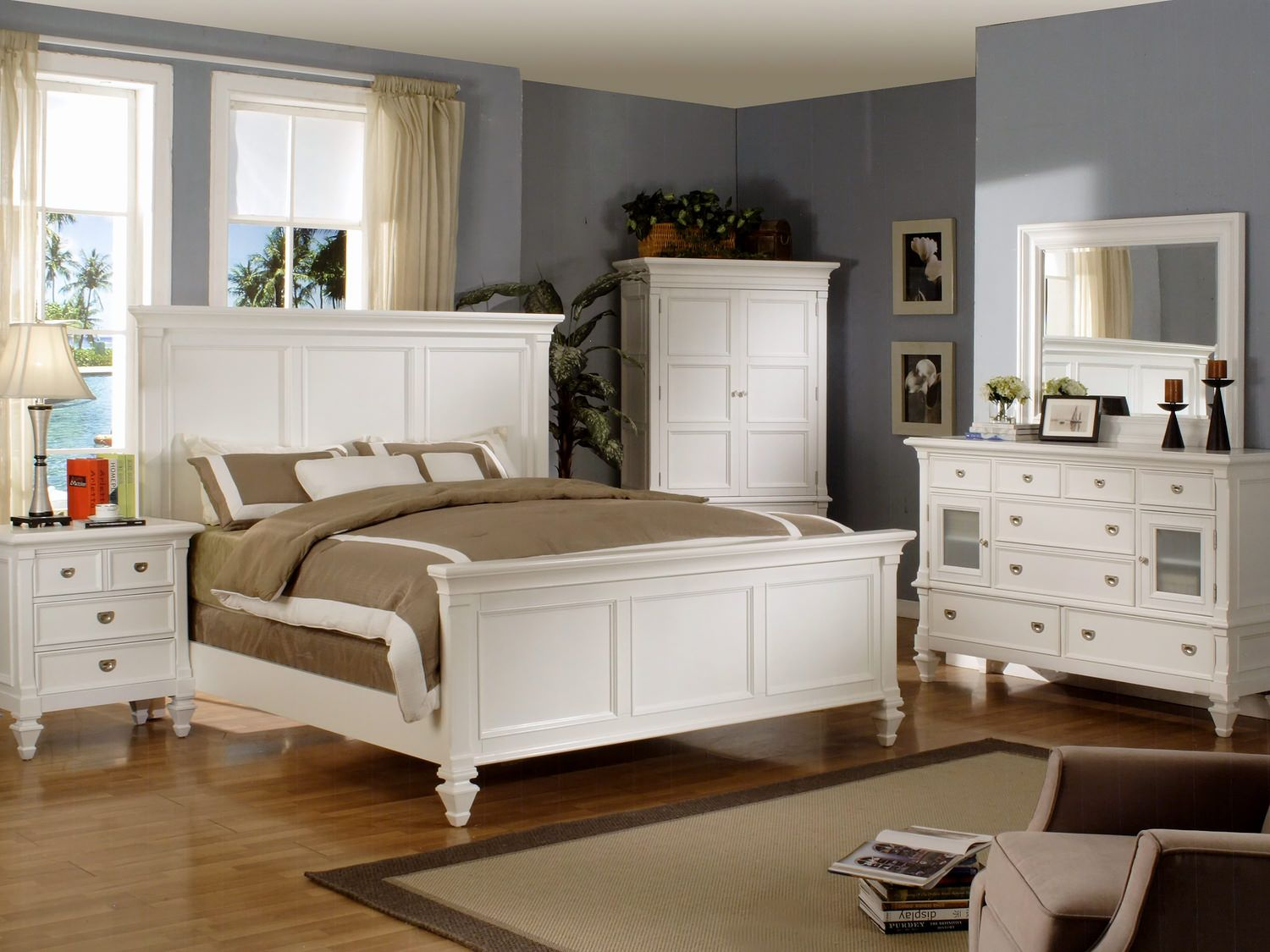 Summer Breeze Queen White Panel Bed