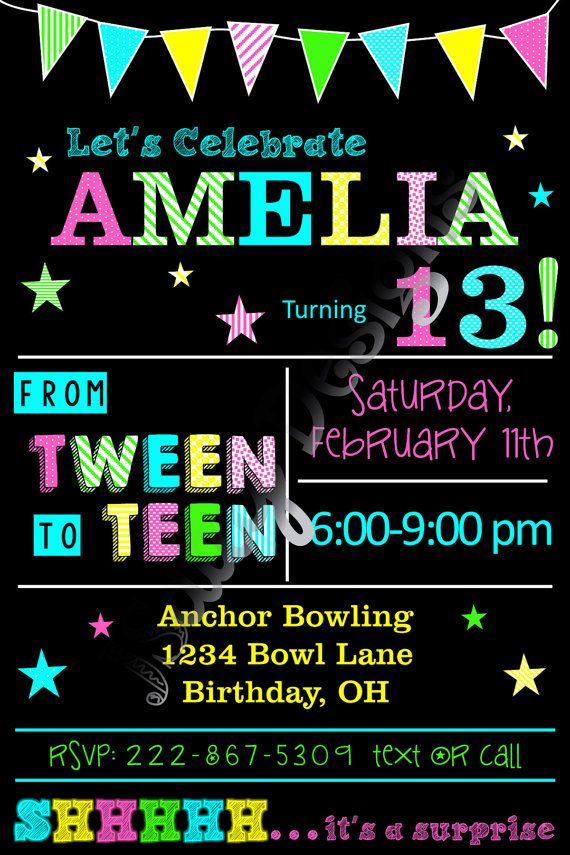 13th Birthday; 13; Glow party invite; glow in the dark birthday ...