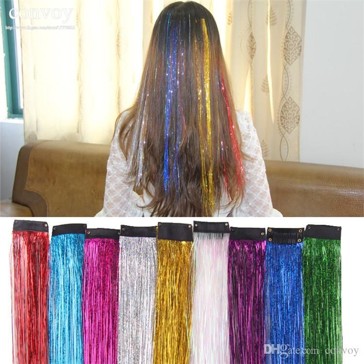 Best Newest Womens Ladies Clip In On Shiny Hair Extensions Laser Dazzle Colour Straight Colorful Yarn Hair Extensions Hair Piece 45*3.4cm Fp04 Under $0.51 | Dhgate.Com
