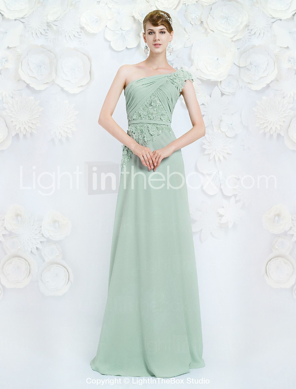 Formal Evening Dress A-line One Shoulder Floor-length Chiffon with ...