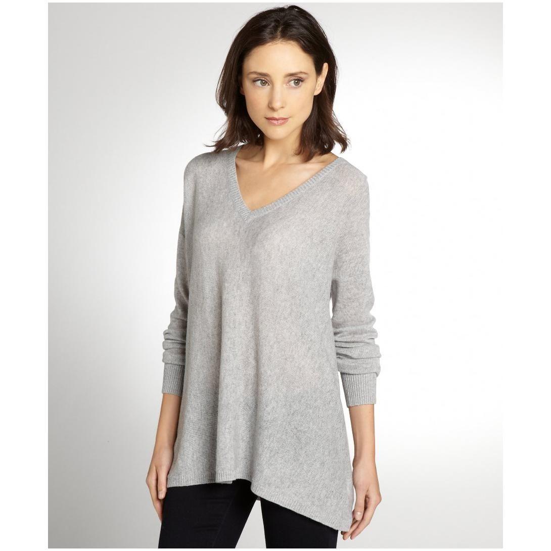 Magaschoni women's grey melange cashmere V-neck sweater   apparel ...