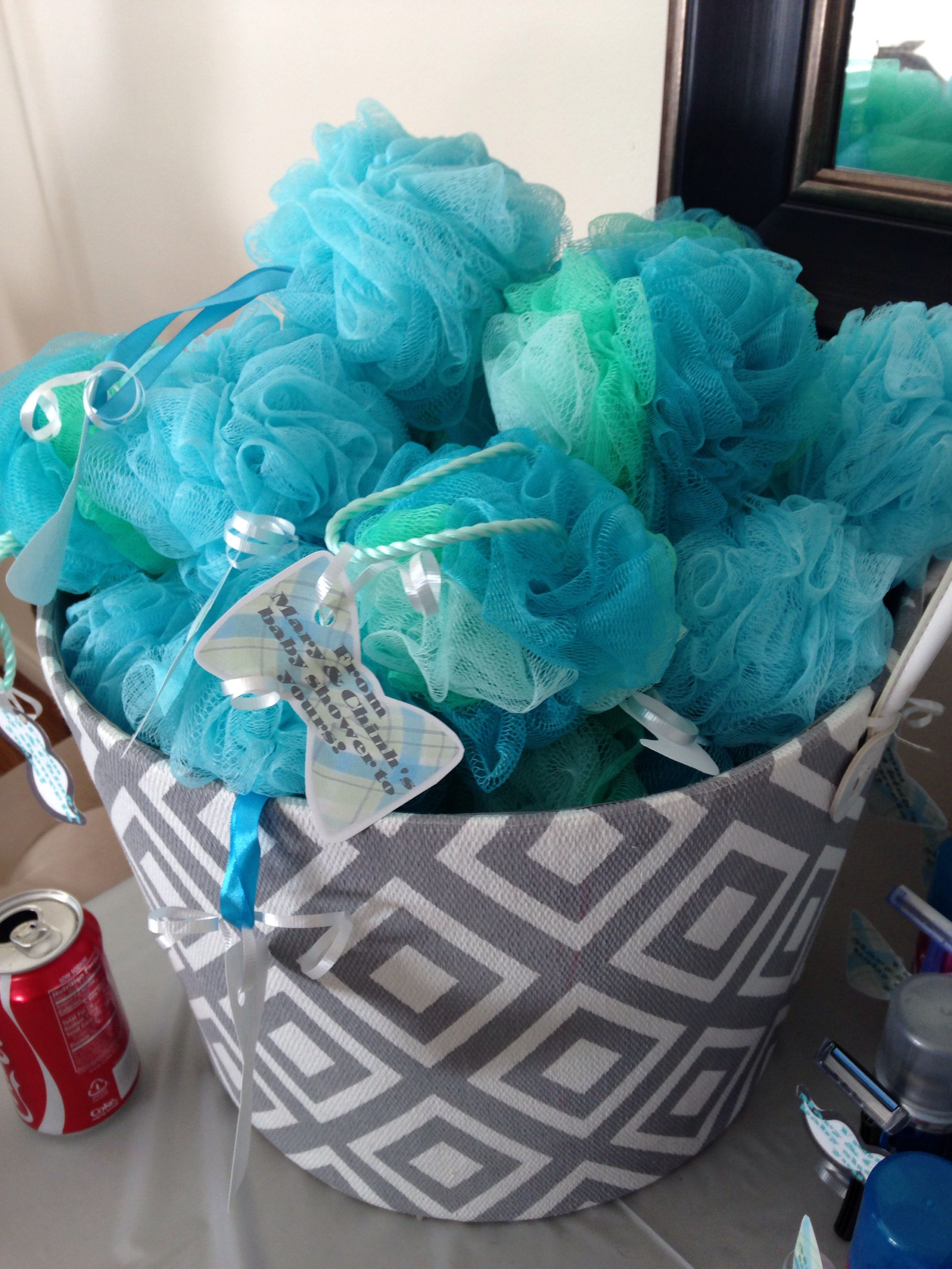 """Baby boy baby shower favor bath spongy....cut out bow tie & mustache labels  saying """"from our baby shower to yours"""""""