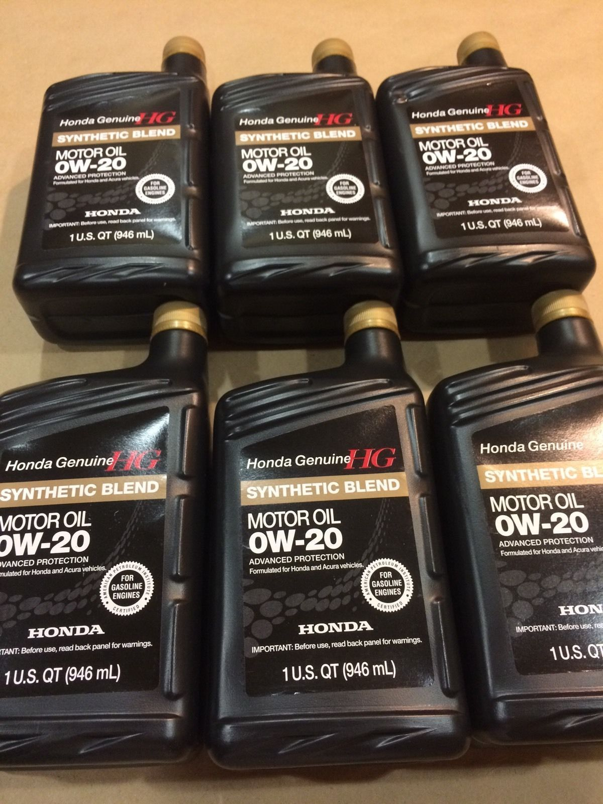 Honda Genuine Sae 0w20 Synthetic Blend Motor Oil A Set Of 6 Motor Oil Oils Oil Sets