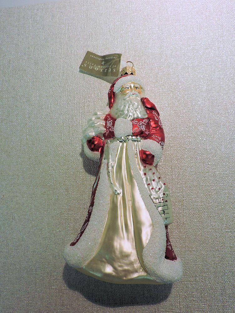SANTA CLAUS Blown Glass Ornament - Seasons of Cannon Falls - NWT ...