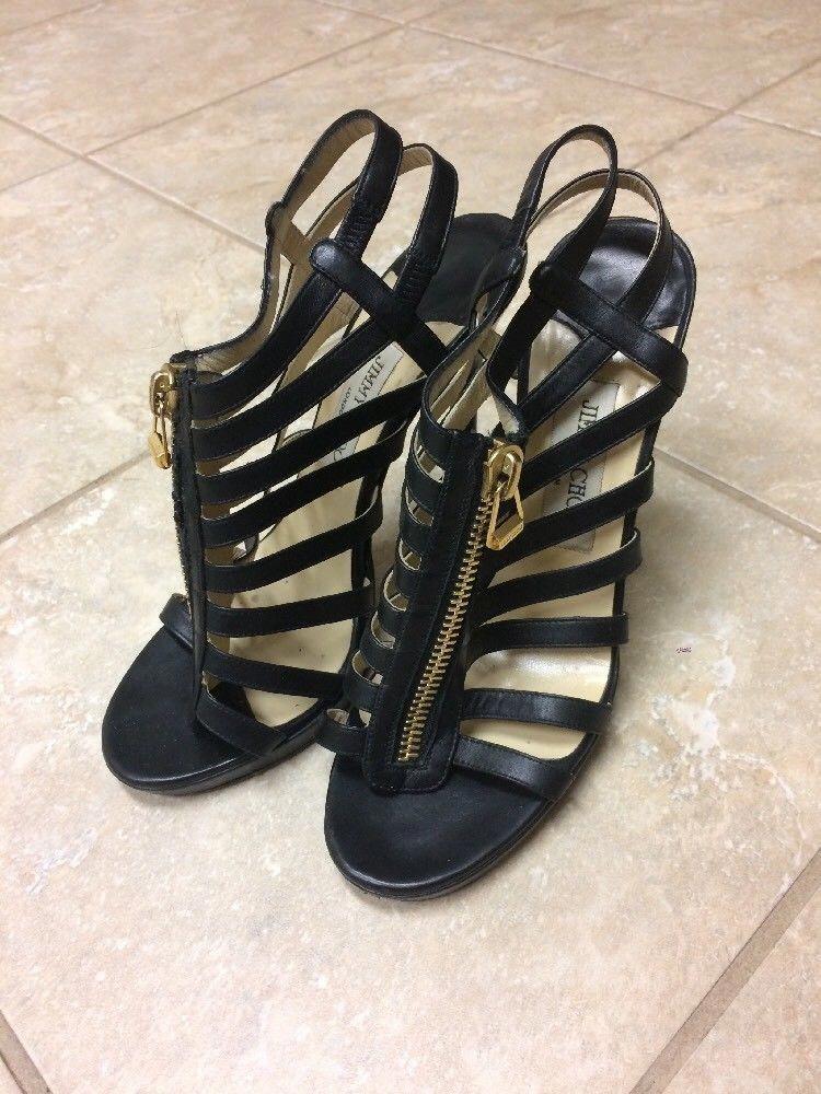 19f0303c8dd09 Jimmy Choo Sandals Caged Platform Glenys Black Leather Strappy Zipper Heels  39 9 #JimmyChooHeels