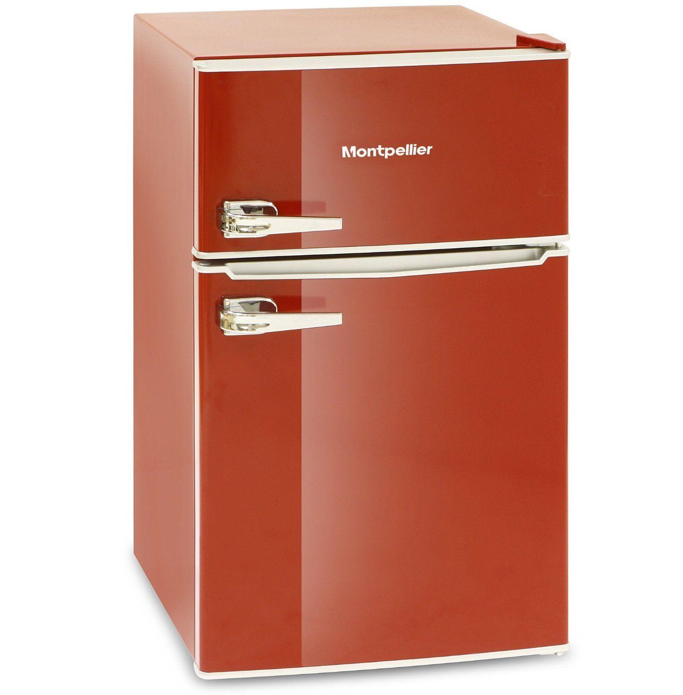 Montpellier MAB2030R Retro Style Fridge freezer Red: Amazon.co.uk ...