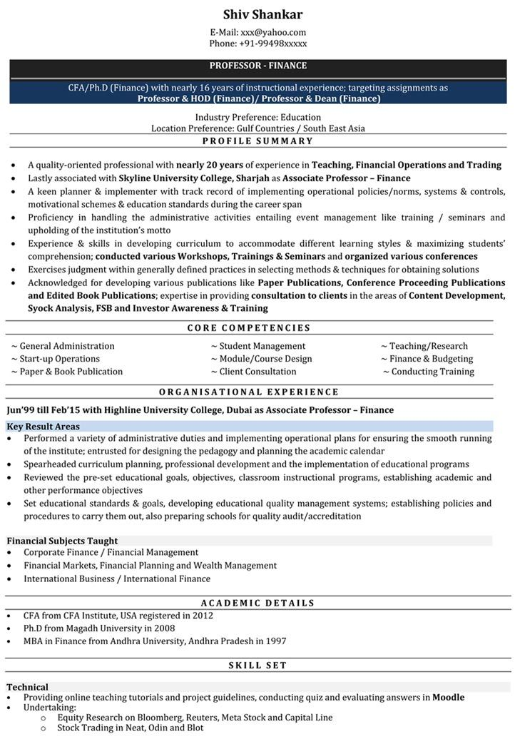 image result for best lecturer resume format