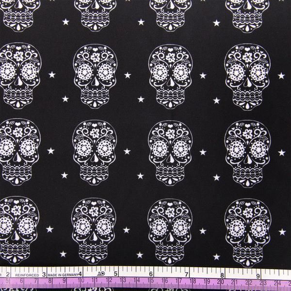 skull fabric available now, sugar skull, Los Meurtos, Day of the dead, halloween