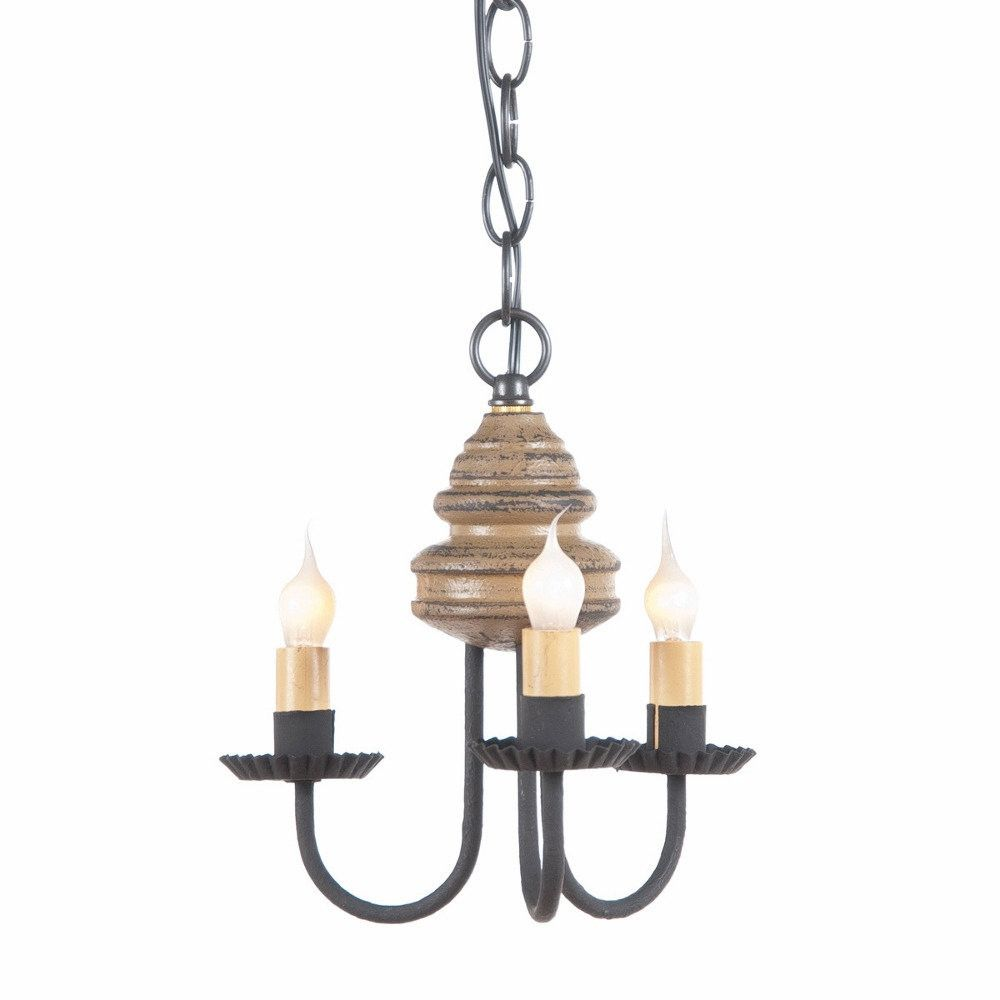 Wood And Metal Chandelier Primitive Colonial 3 Candle Candelabra