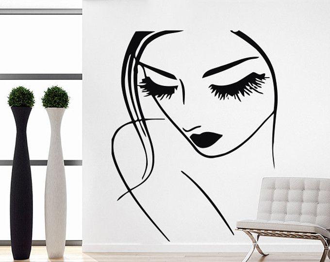 Beauty Stickers Eyes Vinyl Wall Sticker For Beauty Salon Decor Wall Decal Girl