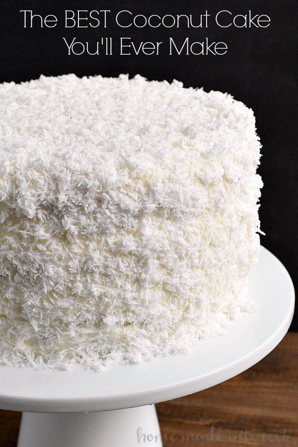 This is the best coconut cake recipe I\u2019ve ever made. This easy coconut cake is moist and delicious and uses fresh coconut! Cake for hubby #cakerecipe #sweetstuff