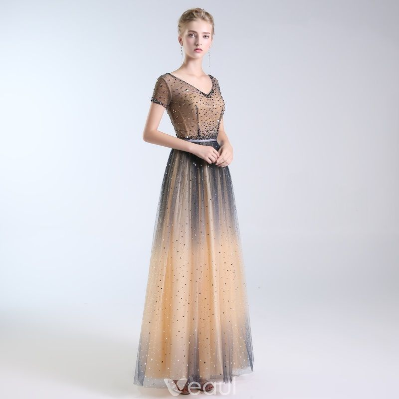 8be87e4db99db Luxury / Gorgeous Champagne Handmade Beading Prom Dresses 2019 A ...
