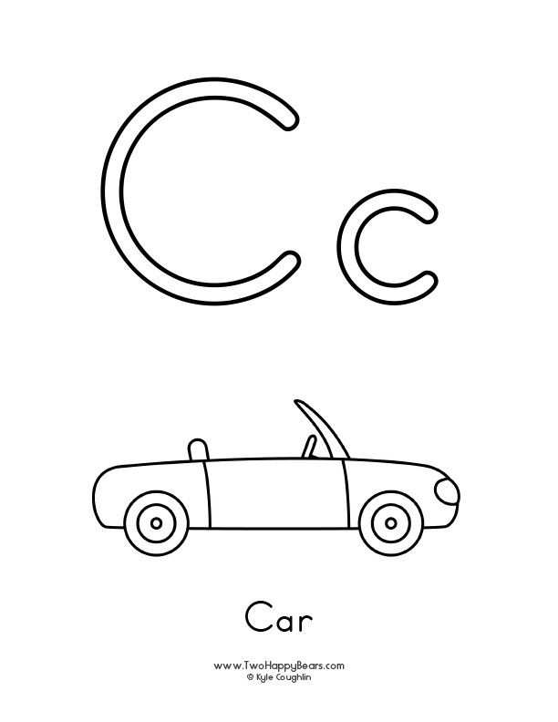 Free printable coloring page for the letter C, with upper