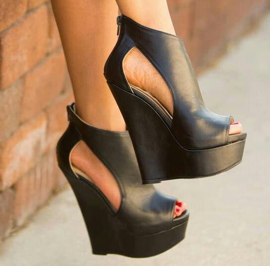 Heels, Boots, Black wedge shoes