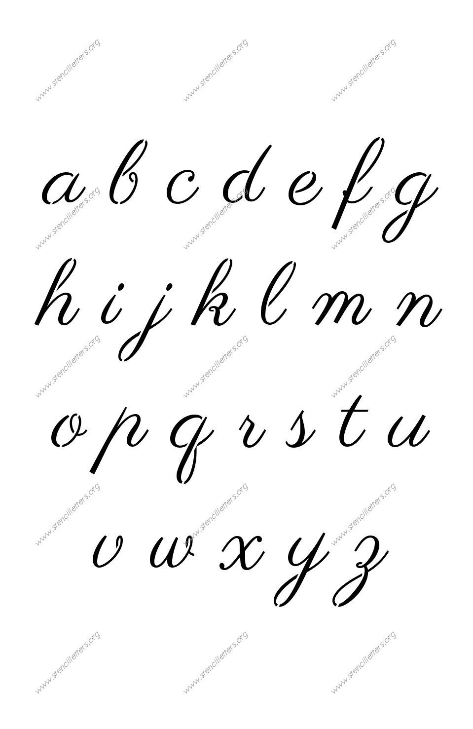 S calligraphy a to z lowercase letter stencils
