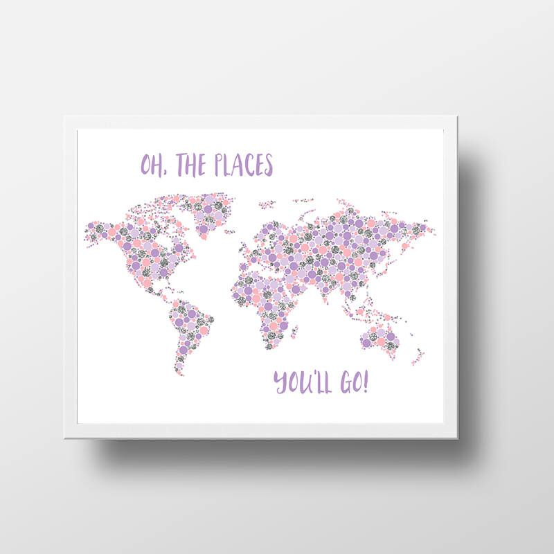 World map oh the places youll go printable nursery wall art pink world map oh the places youll go printable nursery wall art pink purple silver gumiabroncs Image collections