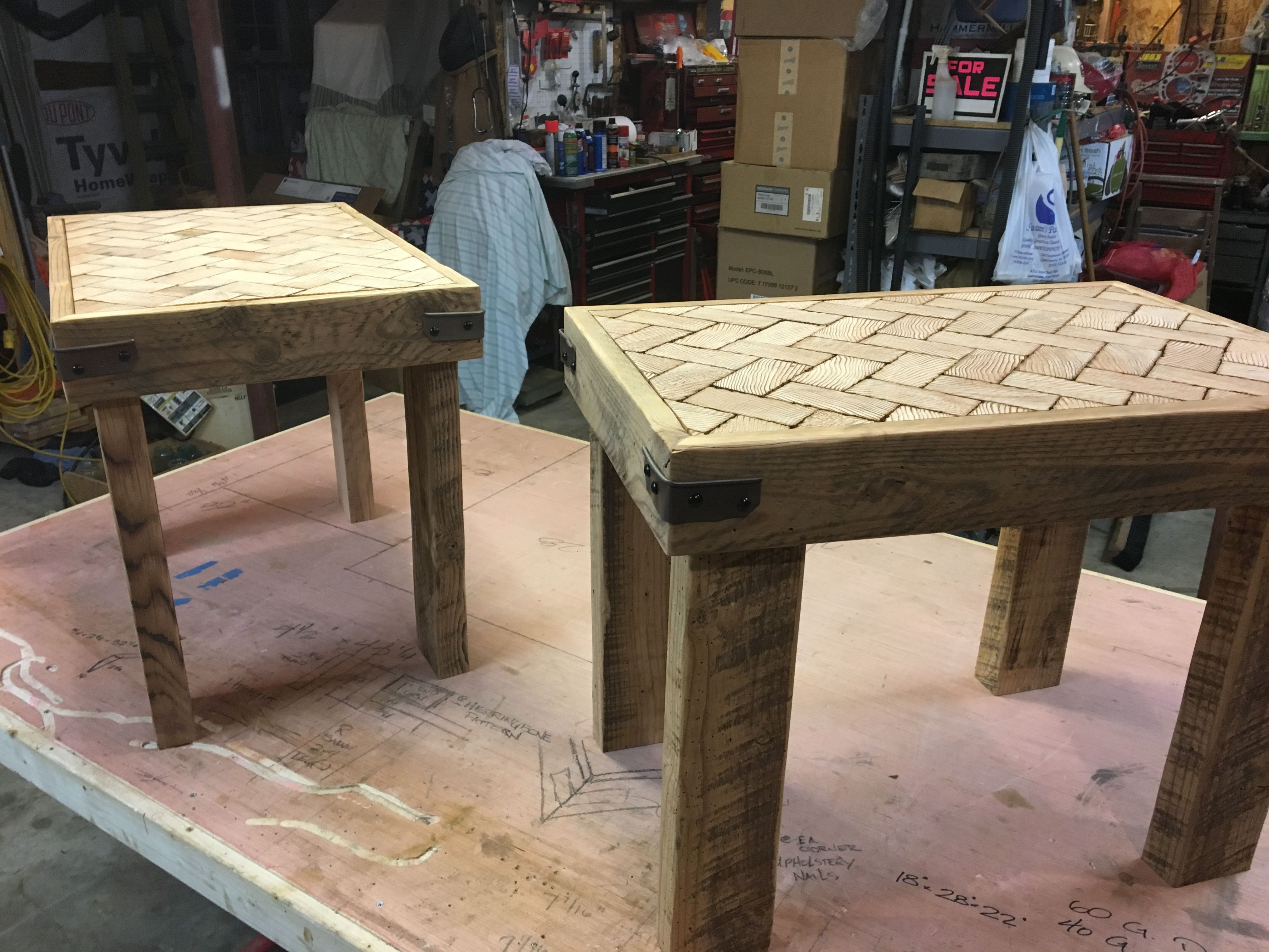 Barn Wood End Grain End Tables Made From Rough Sawn Lumber Barn Wood Built By Stradling Woodworking Rough Sawn Lumber Barn Wood End Tables