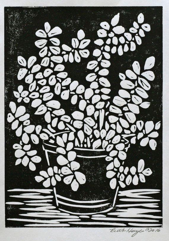 Potted Plant Still Life Linocut Print 5x7 Black Original Home
