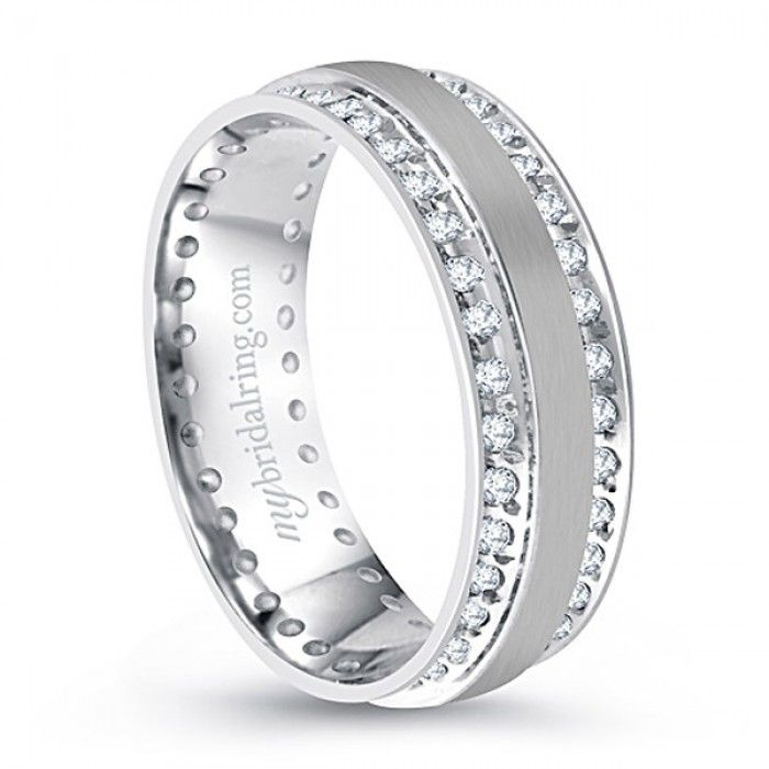 Cute Dazzling Channel Set Diamond wedding band in K white gold http
