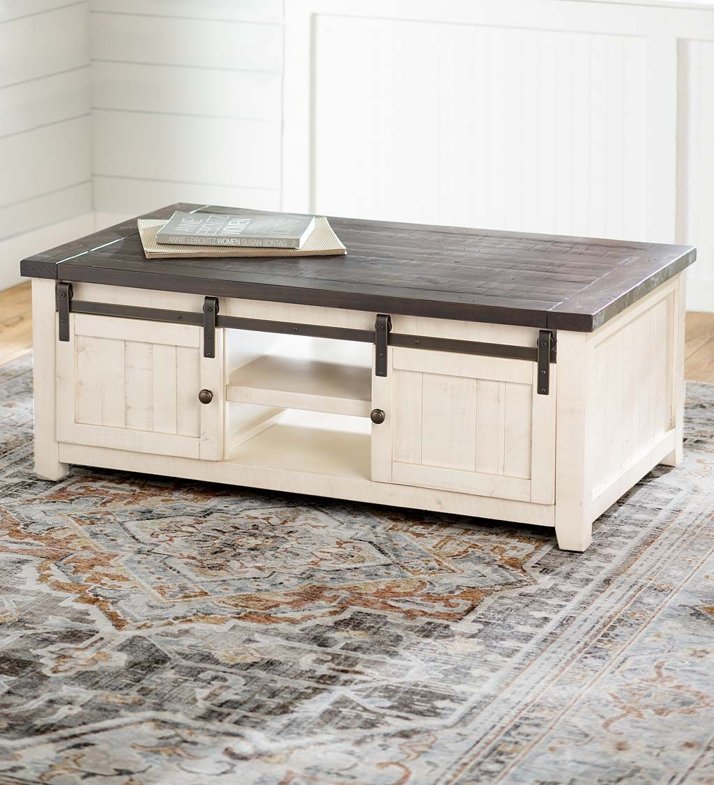Cape Charles Reclaimed Wood Coffee Cocktail Table With Sliding Barn Doors Barn Doors Sliding White Barn Door Country Cottage Decor [ 1126 x 1024 Pixel ]