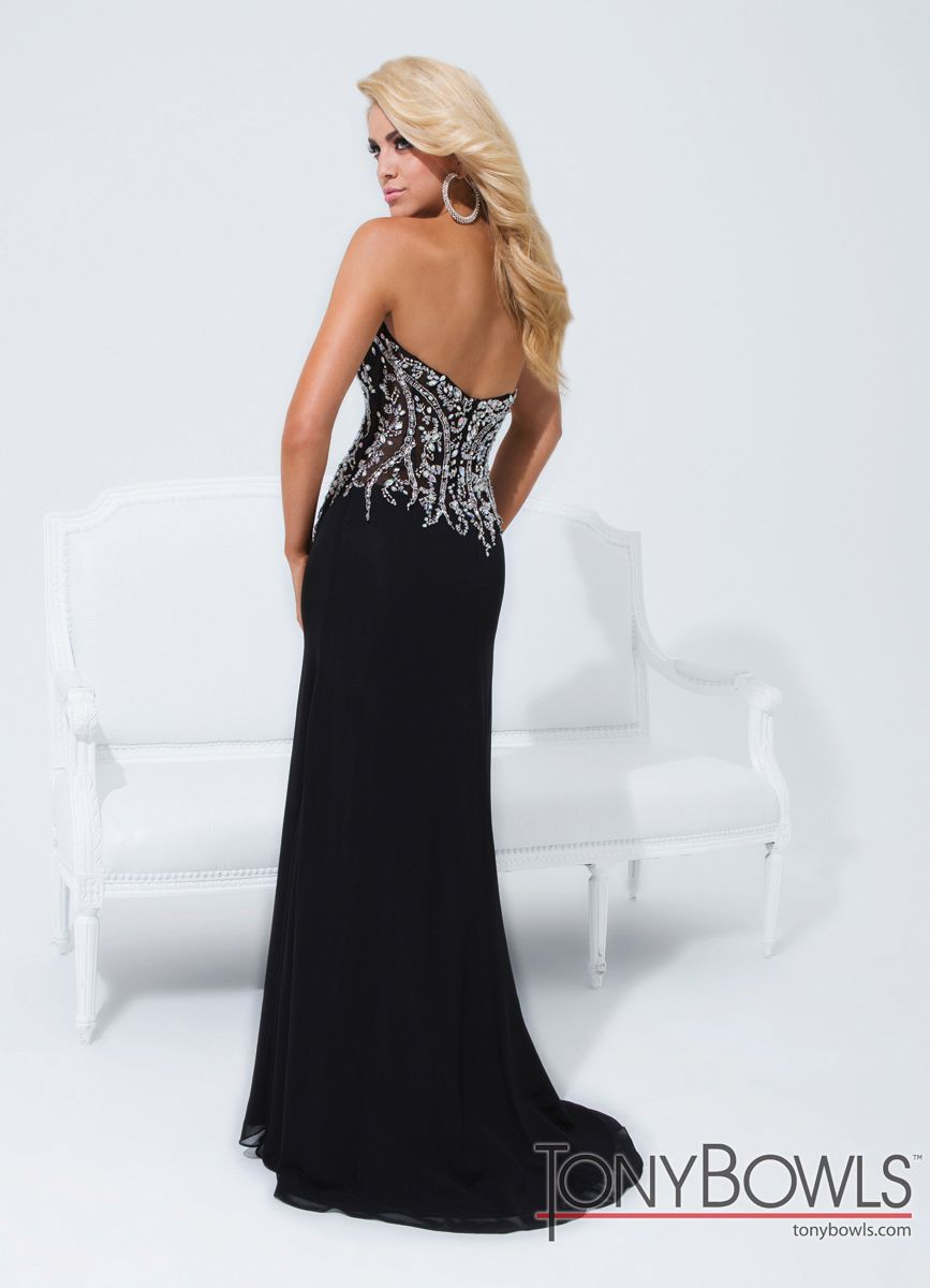 Sexy u sheer tony bowls dress long prom gowns tony bowls