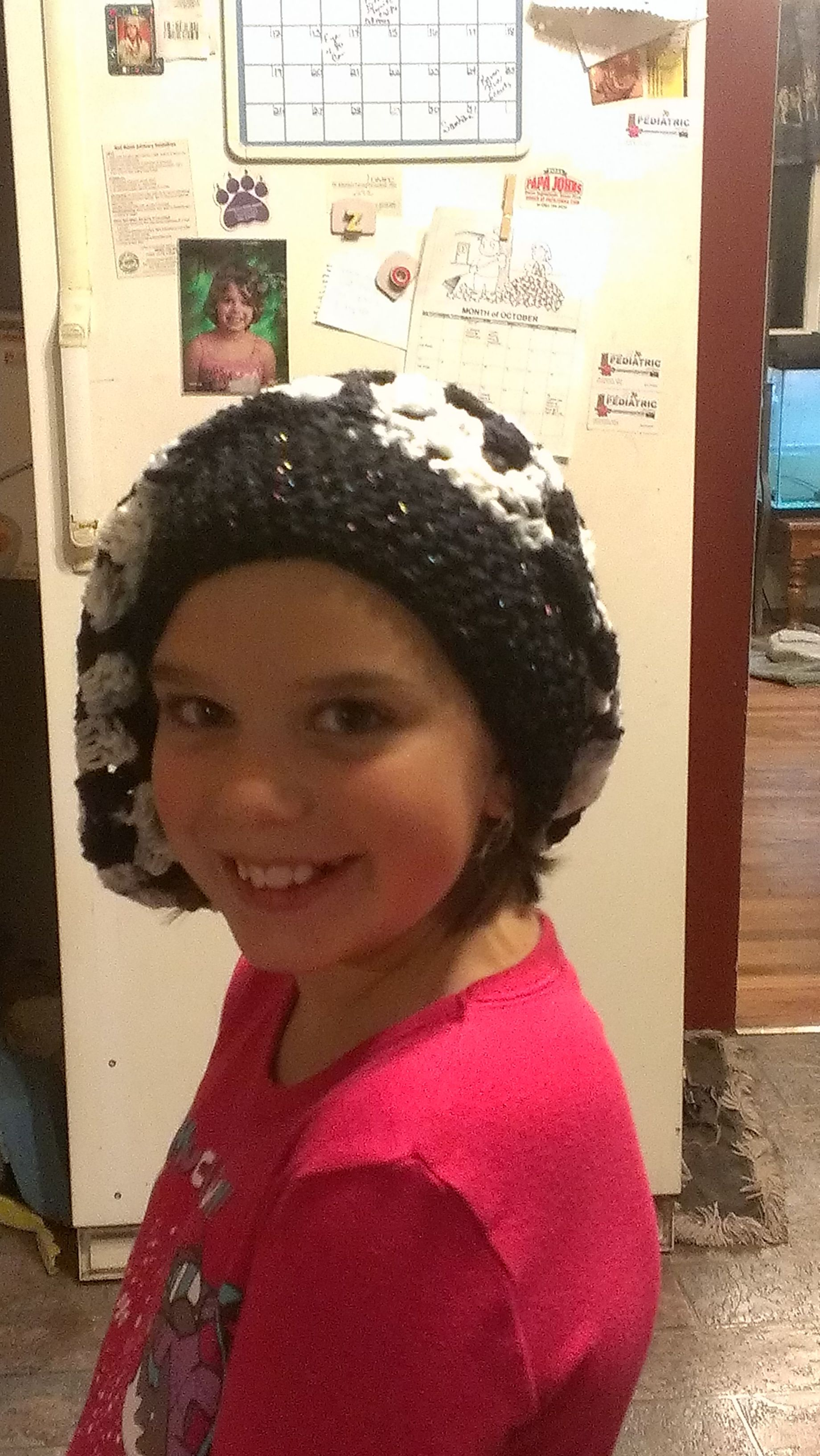 Child's Slouchy hat/beret - black & white variegated with a solid black band - $12