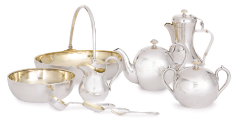 Russian Silver Tea and Coffee Service, Ovchinnikov, Moscow and St. Petersburg, circa 1910