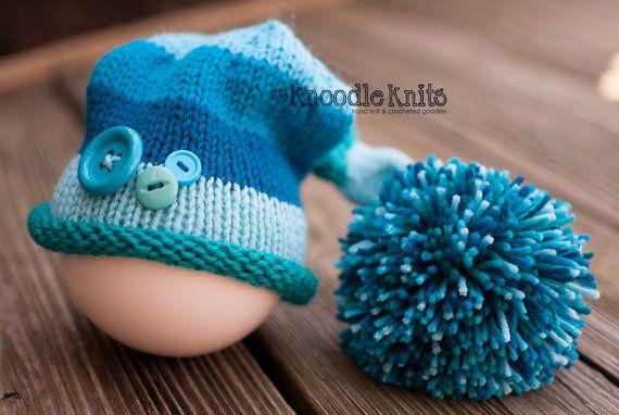 Newborn Knitted Baby Hat, Newborn Hats for Boys, Elf Hat, Newborn ...