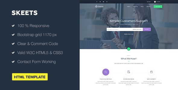 Download Free Skeets Ticket Support Html Template Bootstrap Css Desk Support Templates Psd Templates Html Templates