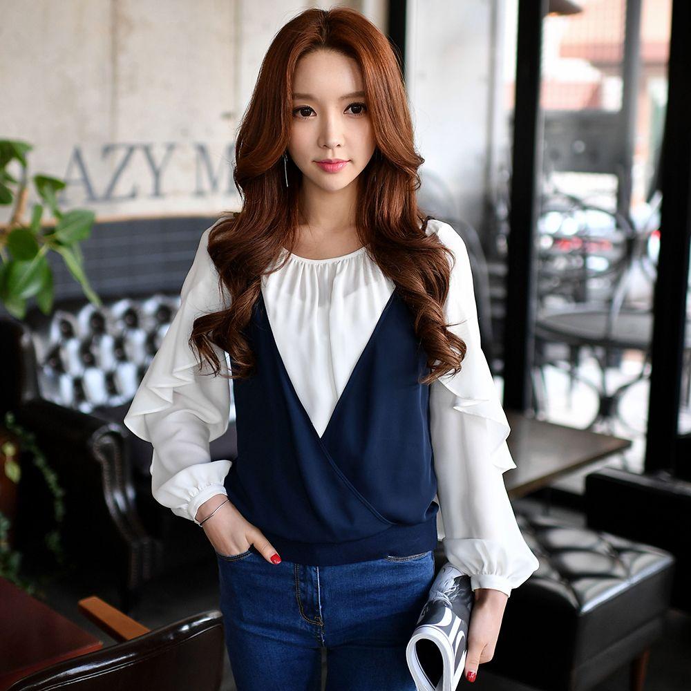 37e887a4f18 Dabuwawa two pieces dark blue white long sleeve chiffon blouse set ...