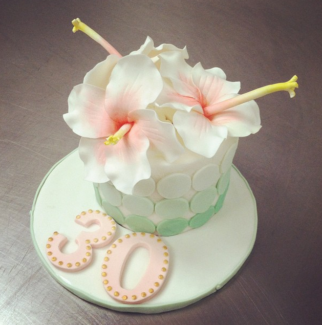 Mini 30th Birthday Cake buttercream with gumpaste flowers and
