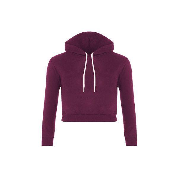 Yoins Plain Purple Color Double Straps Front Hooded Crop Sweater ...