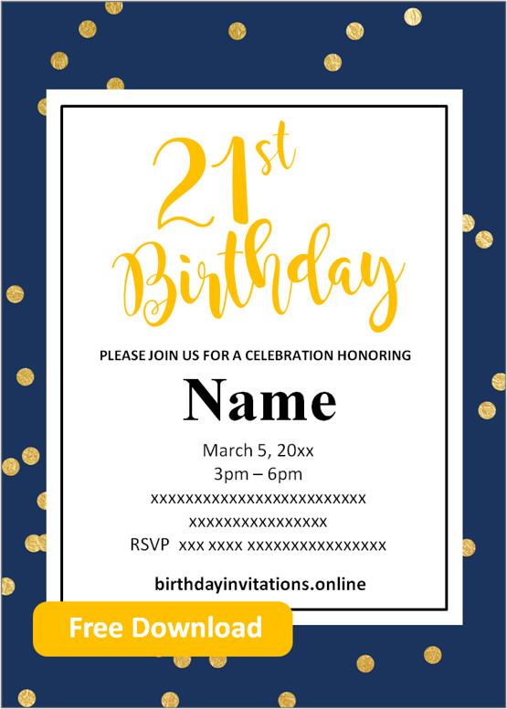 Pin On Free 21st Birthday Invitations Templates