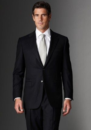 78100a62424a Hickey Freeman Mahogany Collection Navy Stripe Suit. Classic fit through the  body