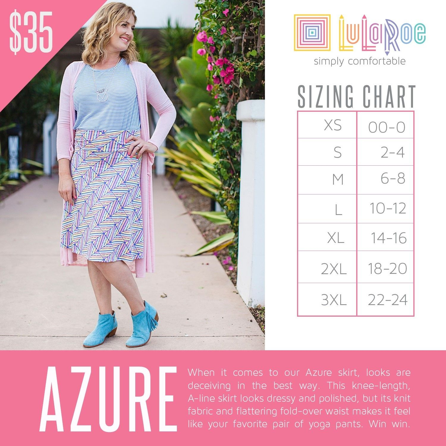 Here Is The Sizing Chart For Lularoe Azure Skirt Size