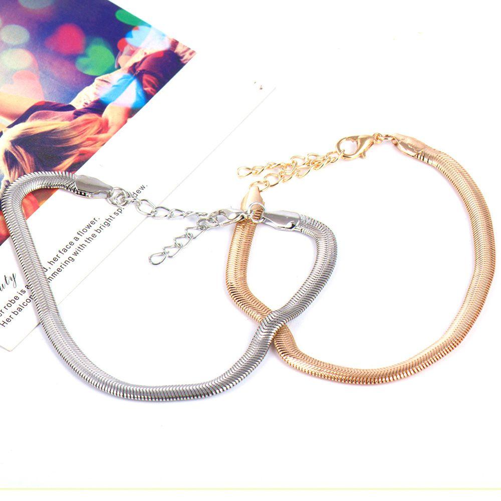 L stainless steel golden snake chain bracelet pulseras mujer