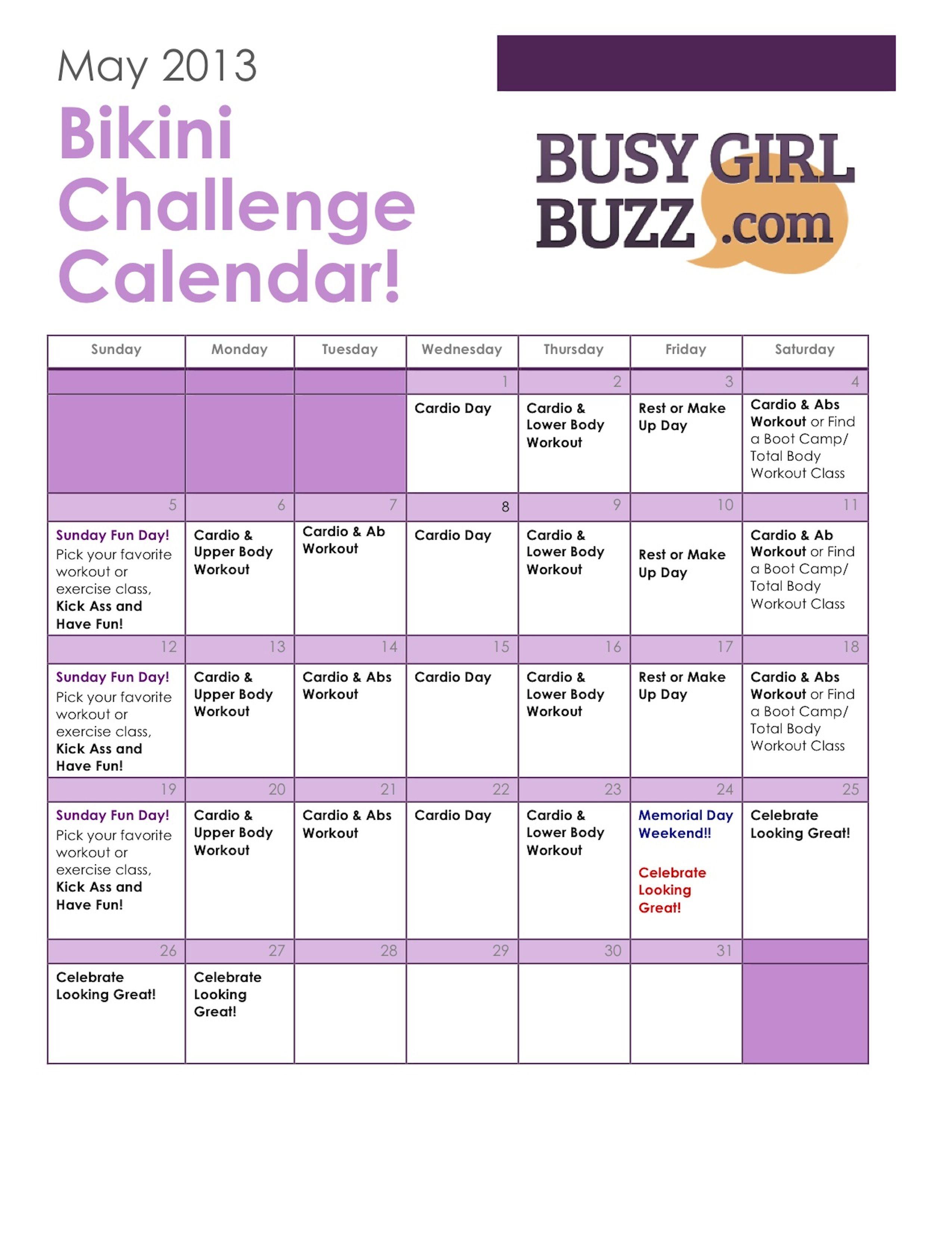 Workout Schedule Workout Challenge Workout Calendar