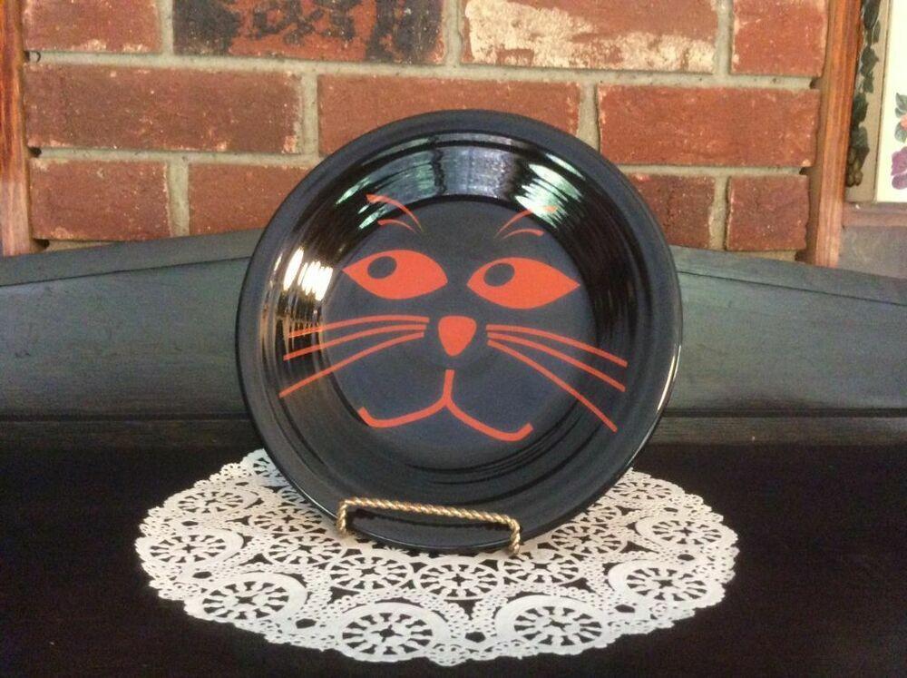 2003 Fiesta Dinnerware Black Cat With Football Shaped Eyes
