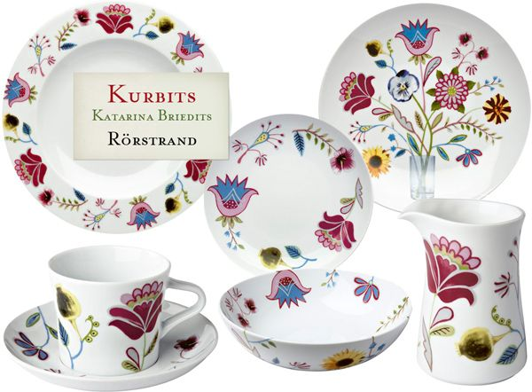 One of my favorite designers Katarina Brieditis has created Kurbits for Rørstrand. I love the mix of photographic flowers with folk art painted elements.
