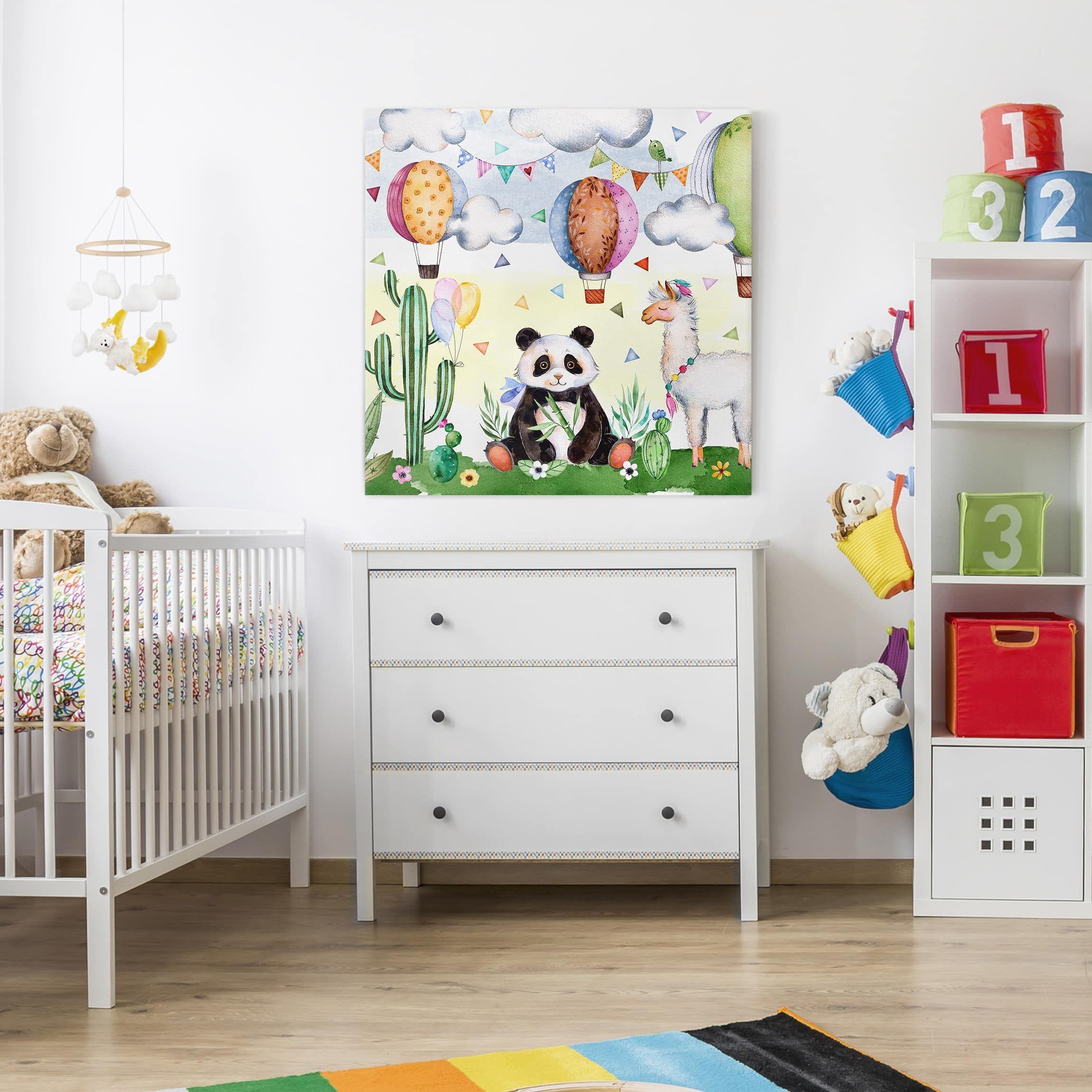 Il Parco Delle Camerette stampa su tela - panda and watercolor lama - quadrato 1:1