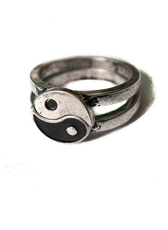 Yin yang friendship ring, vintage overstock splits in two, antique silver ying