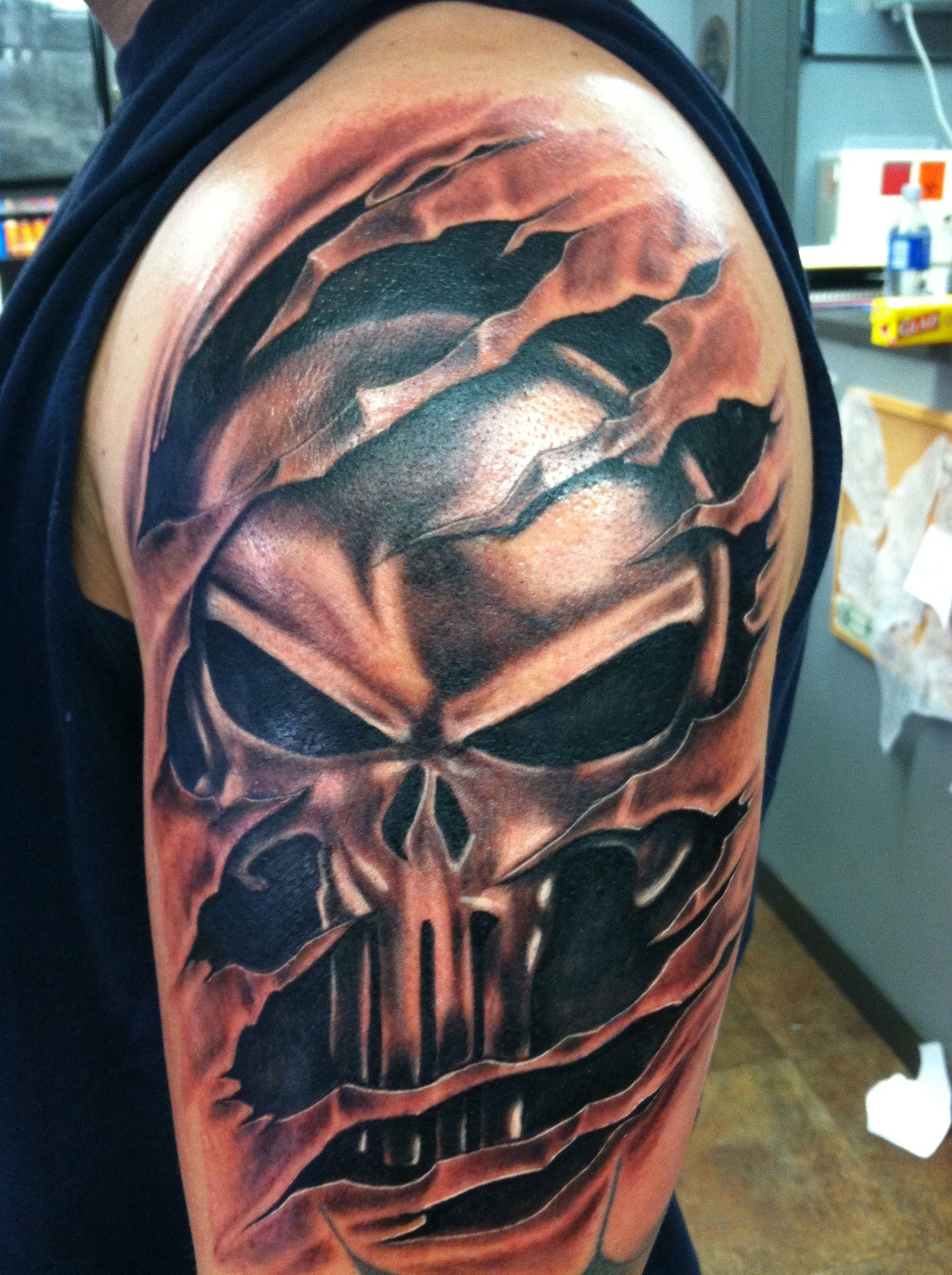 Punisher Tattoo Marvel Tattoos Shoulder Cover Up Tattoos Punisher Tattoo