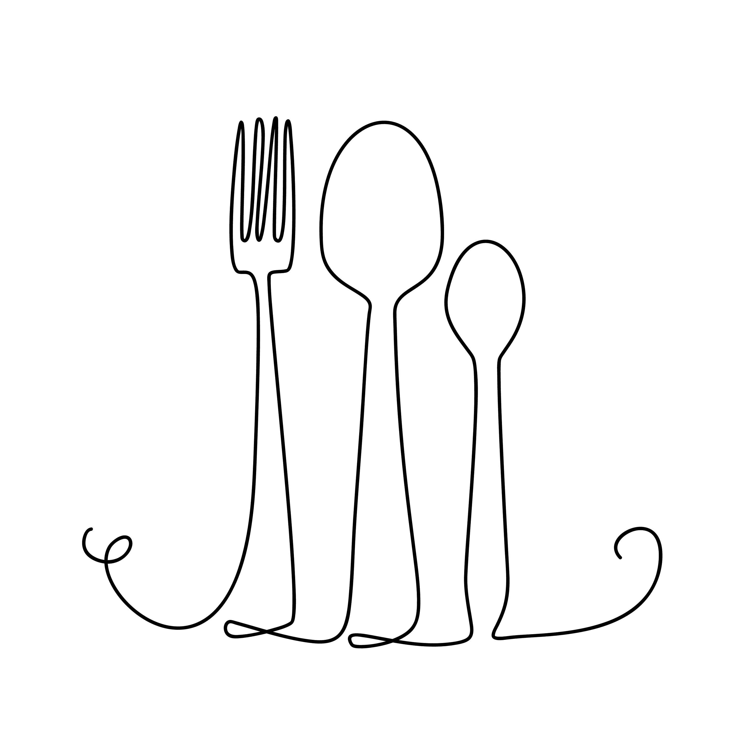 Fork And Spoon Continuous Thin Line Vector Illustration Etsy In 2021 Kitchen Icon Kitchen Art Simple Cafe