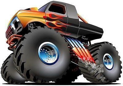 Monster Truck Cartoon Car Wall Sticker Kids Art Decal