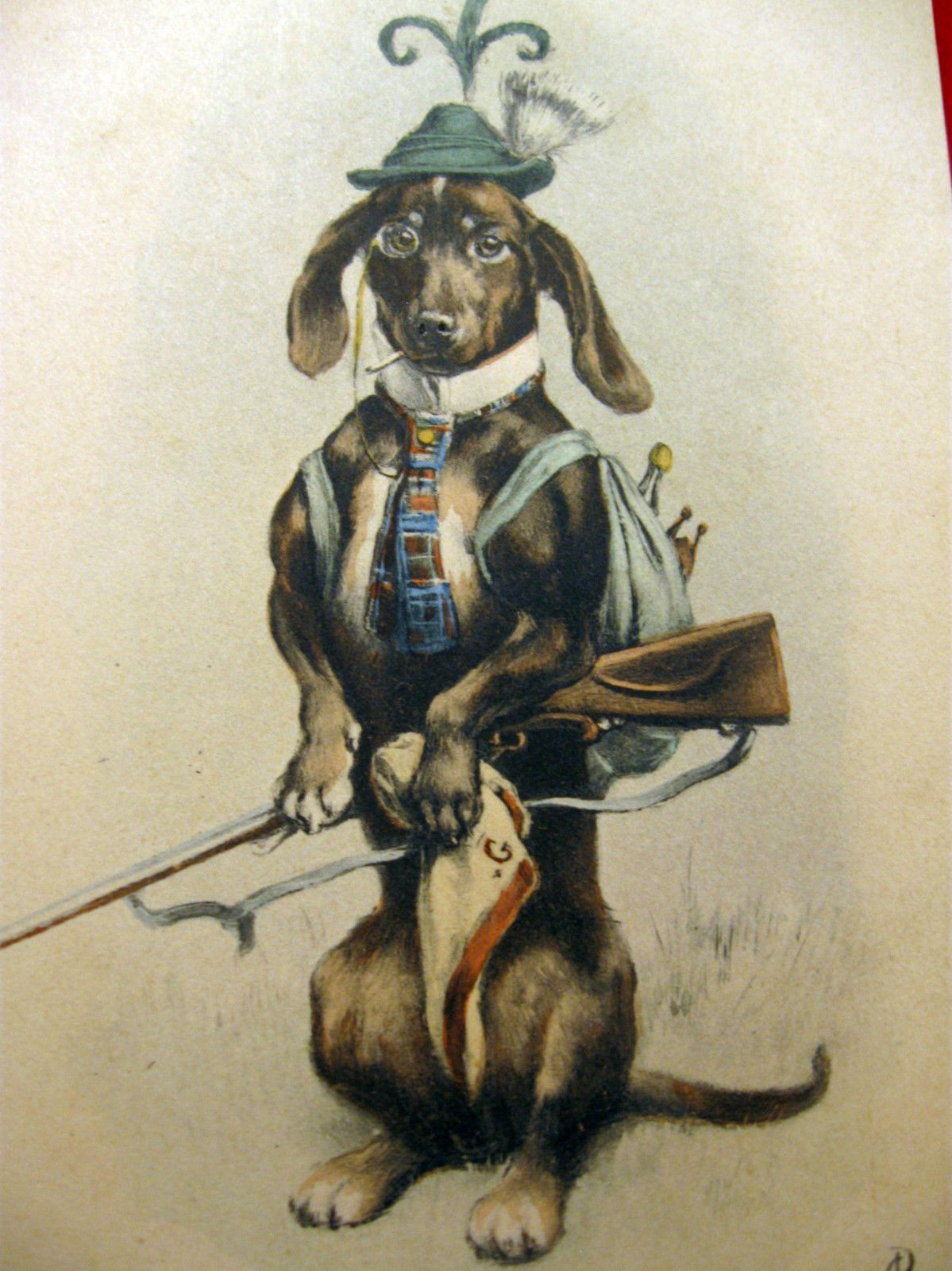 Postcard of Dachshund dressed as Bavarian Hunter artist