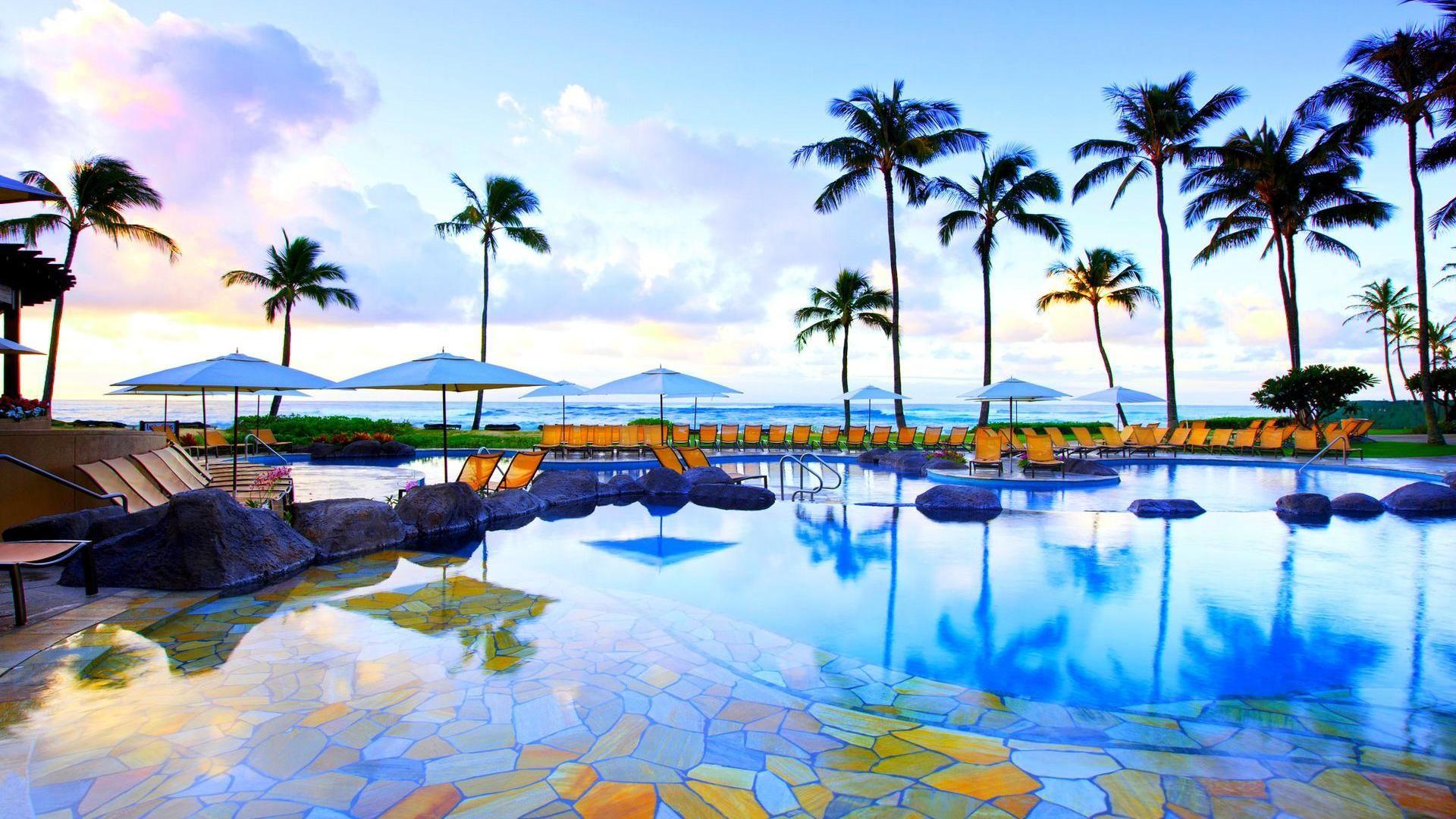 Beautiful Resort Pool In Kauai Hawaii Hd Desktop Background Wallpaper Free Travel Oceania In