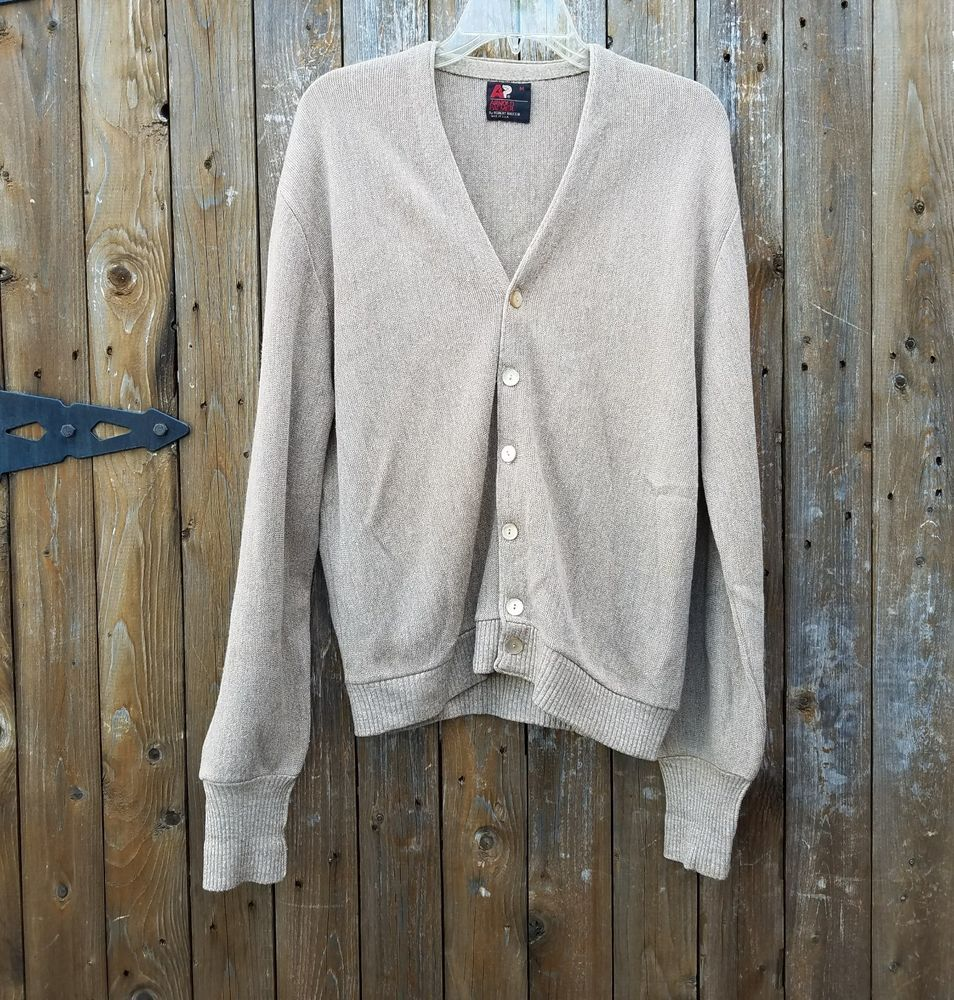Arnold Palmer Mens Size Medium Tan Long Sleeve Sweater Cardigan ...