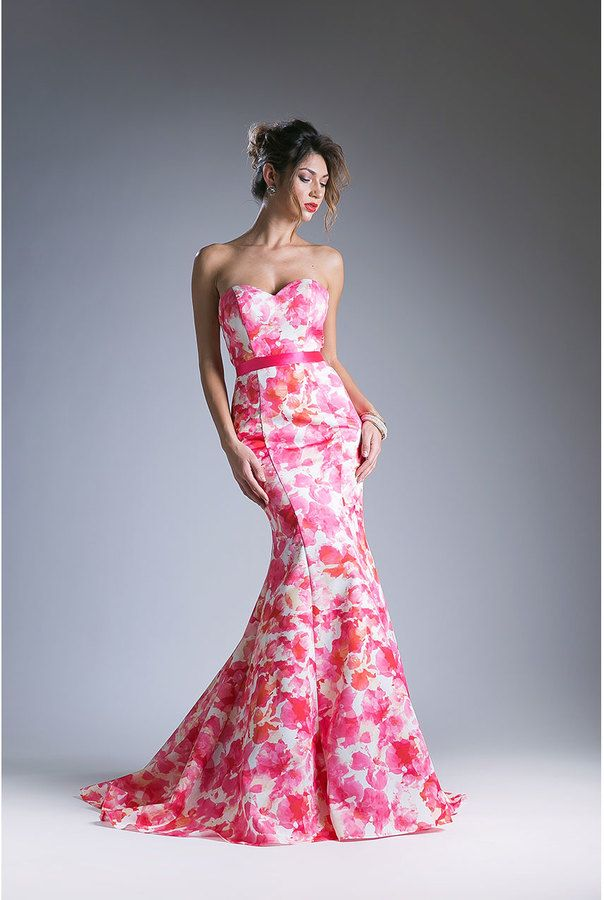 Pink Floral Strapless Long Gown | Dresses | Pinterest